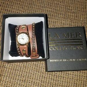 NIB La Mer leather stud wrap watch
